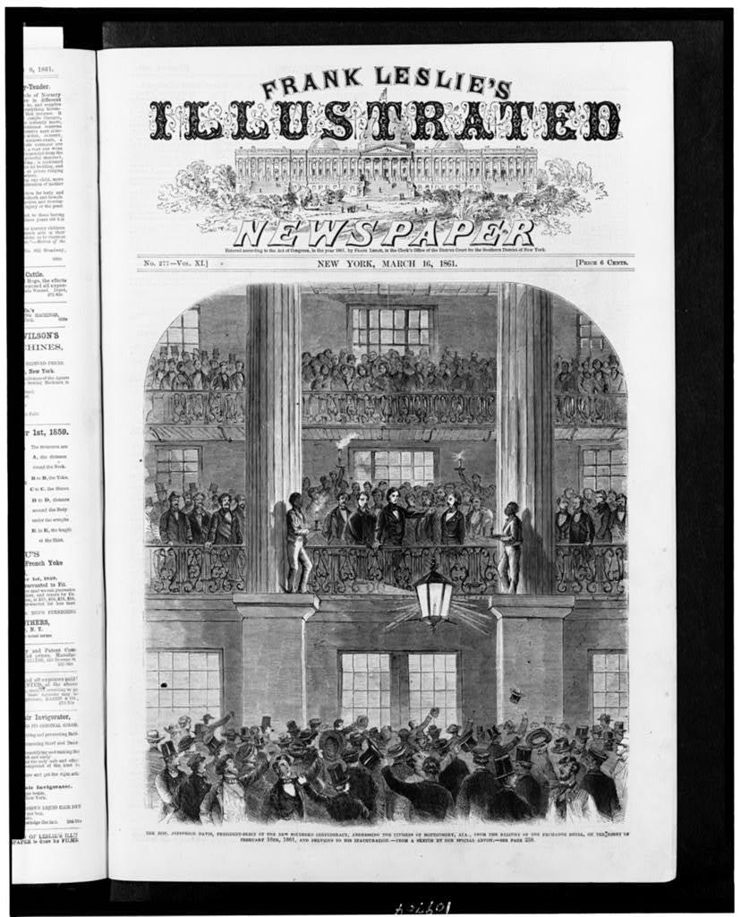 The Hon. Jefferson Davis, president-elect of the new southern confederacy, addressing the citizens of Montgomery, Ala., from the balcony of the Exchange Hotel, on the night of February 16th, 1861, and previous to his inauguration / from a sketch by our special artist.