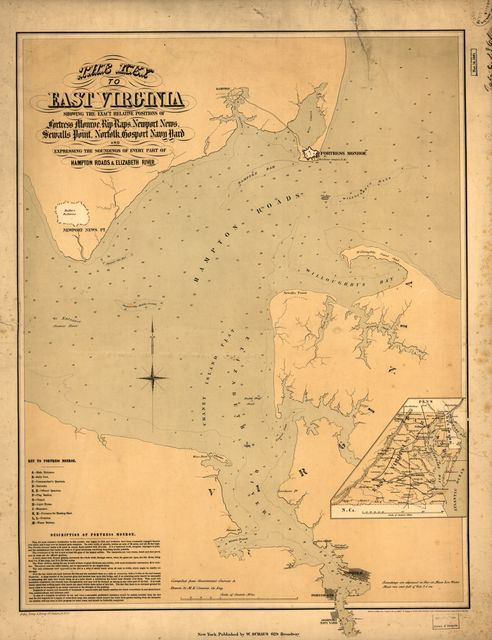 The key to East Virginia showing the exact relative positions of Fortress Monroe, Rip Raps, Newport News, Sewalls [sic] Point, Norfolk, Gosport Navy Yard and expressing the soundings of every part of Hampton Roads & Elizabeth River