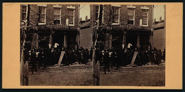 The News depot at Cumberland MD on the arrival of particulars of the riot in Baltimore, 19th Apl 1861