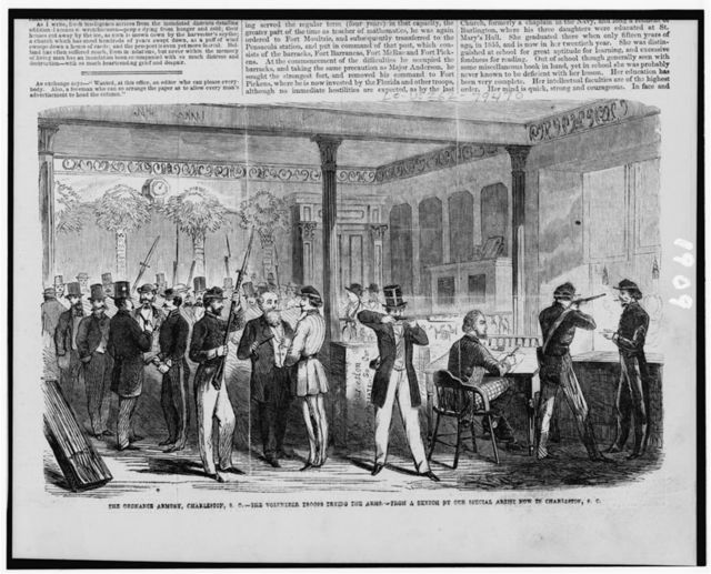 The ordnance armory, Charleston, S.C. - the volunteer troops trying the arms / from a sketch by our special artist now in Charleston, S.C.