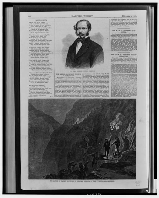 The Rebel General Joseph E. Johnston The ascent of Gauley Mountain, in western Virginia, by the Twelfth Ohio Regiment / / M. Nevin.
