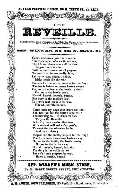 The reveille. [by] Sep. Winner. A. W. Auner, Song Publisher, Philadelphia