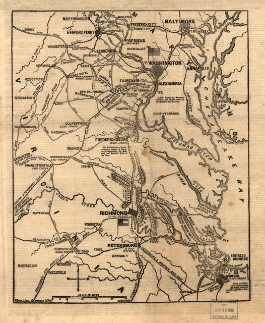 The seat of war in Virginia. Positions of the rebel forces, batteries, intrenchments and encampments in Virginia-the fortifications for the protection of Richmond