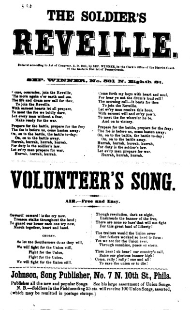 The soldier's reveille. [by] Sep. Winner, No. 531 N. Eighth. St. Phila., Johnson, Song Publisher, [1861]