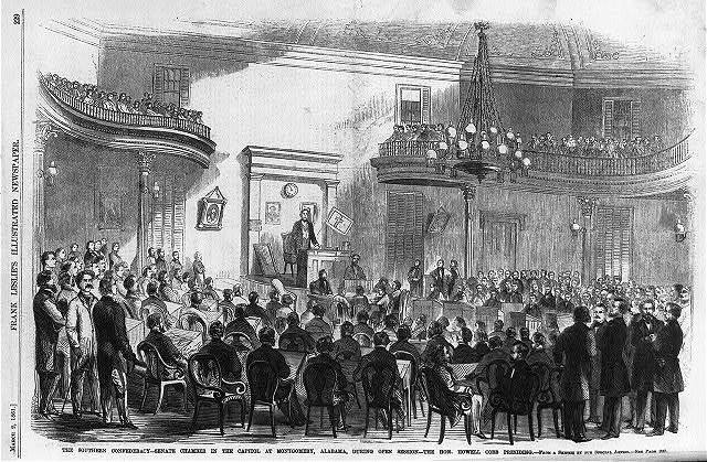The Southern Confederacy - Senate Chamber in the Capitol at Montgomery, Alabama, during open session - the Hon. Howell Cobb presiding