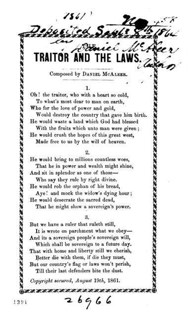 The traitor and the laws. Composed by Daniel McAlbeer. 1861