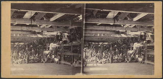 "The twelfth regiment ""laying off"" in the Navy Yard barracks at Washington"