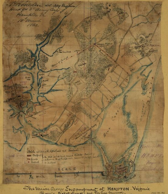 The Union army encampment at Hampton, Virginia Showing picket lines and Fortress Munroe [sic].