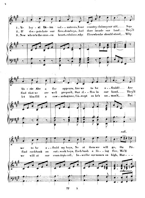 The Union Volunteers: song by E.C. Saffery.