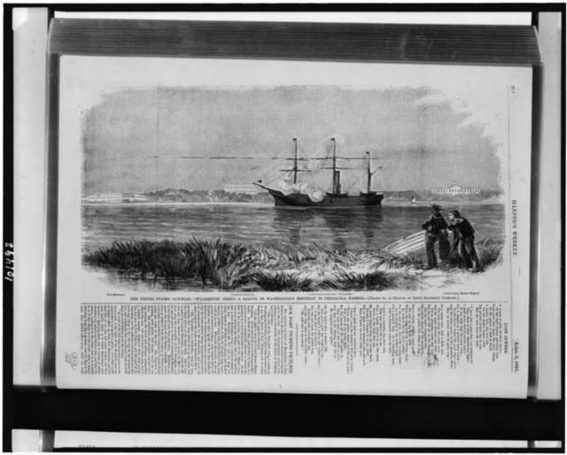 "The United States gun-boat ""Wyandotte"" firing a salute on Washington's Birthday in Pensacola Harbor / drawn by an officer of Lieut. Slemmer's command."