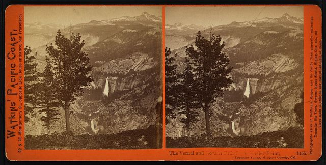 The Vernal and Nevada Fall, f[rom] Glacier Point, Yosemite Valley, Mariposa County, Cal.