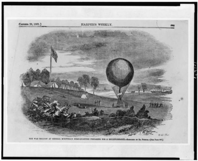The War balloon at General M'Dowell's head-quarters preparing for a reconnoissance / sketched by Ed. Pietsch.