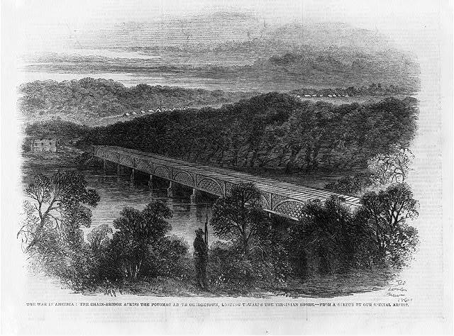 The war in America: the chain bridge across the Potomac above Georgetown, looking towards the Virginian shore