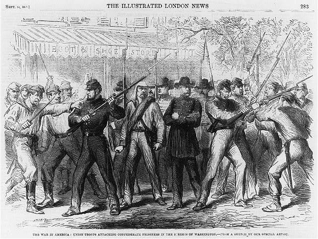 The War in America: Union troops attacking Confederate prisoners in the streets of Washington