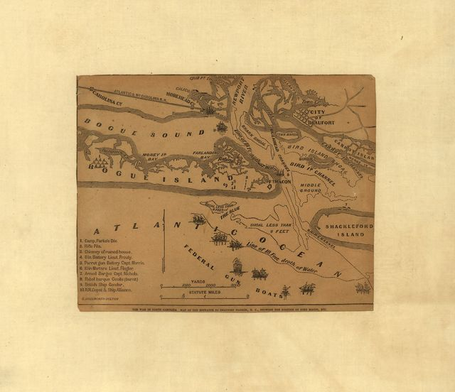 The war in North Carolina. Map of the entrance to Beaufort harbor, N.C. showing the position of Fort Macon, etc.