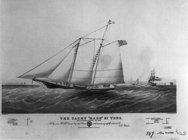 """The yacht """"Haze"""" 87 tons: built by George Steers New York"""
