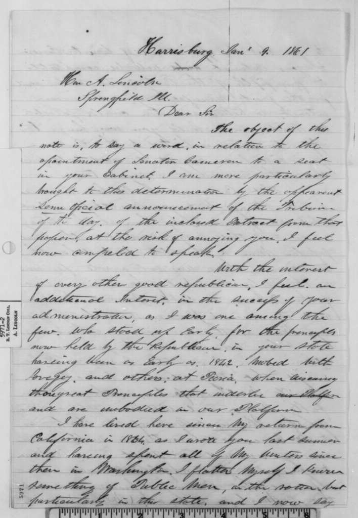 Theodore Adams to Abraham Lincoln, Wednesday, January 09, 1861  (Supports Cameron)