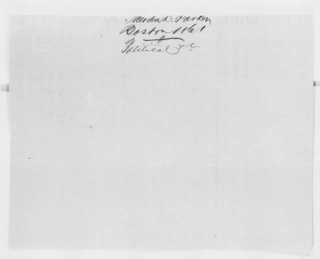 Theodore D. Parker to Abraham Lincoln, Friday, July 26, 1861  (Political advice)
