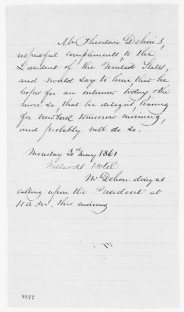 Theodore Dehon to Abraham Lincoln, Monday, May 20, 1861  (Seeks interview)