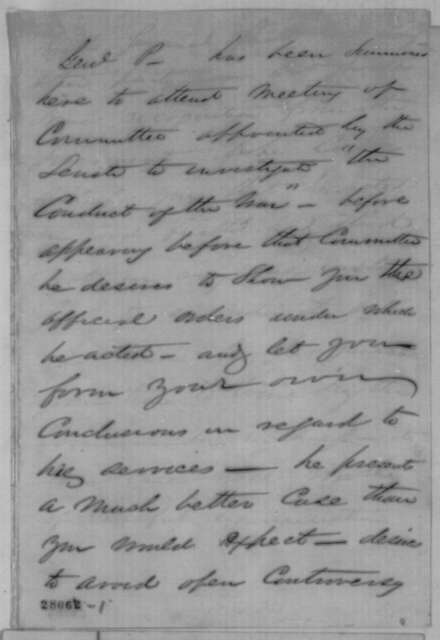 Thomas A. Scott to Abraham Lincoln, December 28, 1861  (Memorandum concerning Robert Patterson's appearance before Joint Committee on Conduct of War)