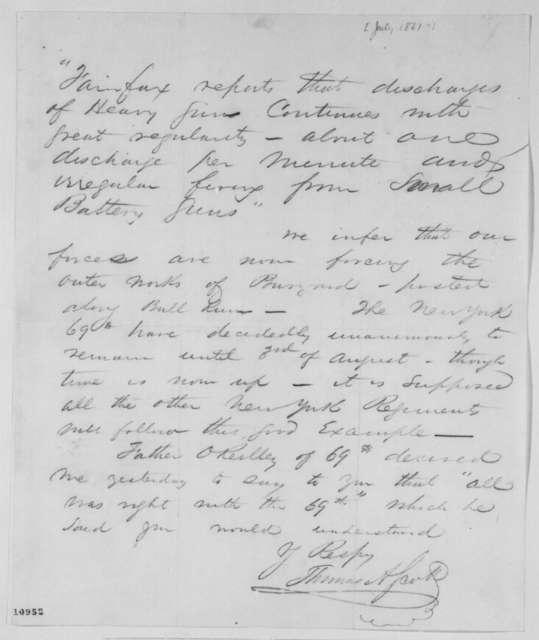 Thomas A. Scott to Abraham Lincoln, July 1861  (Military affairs)