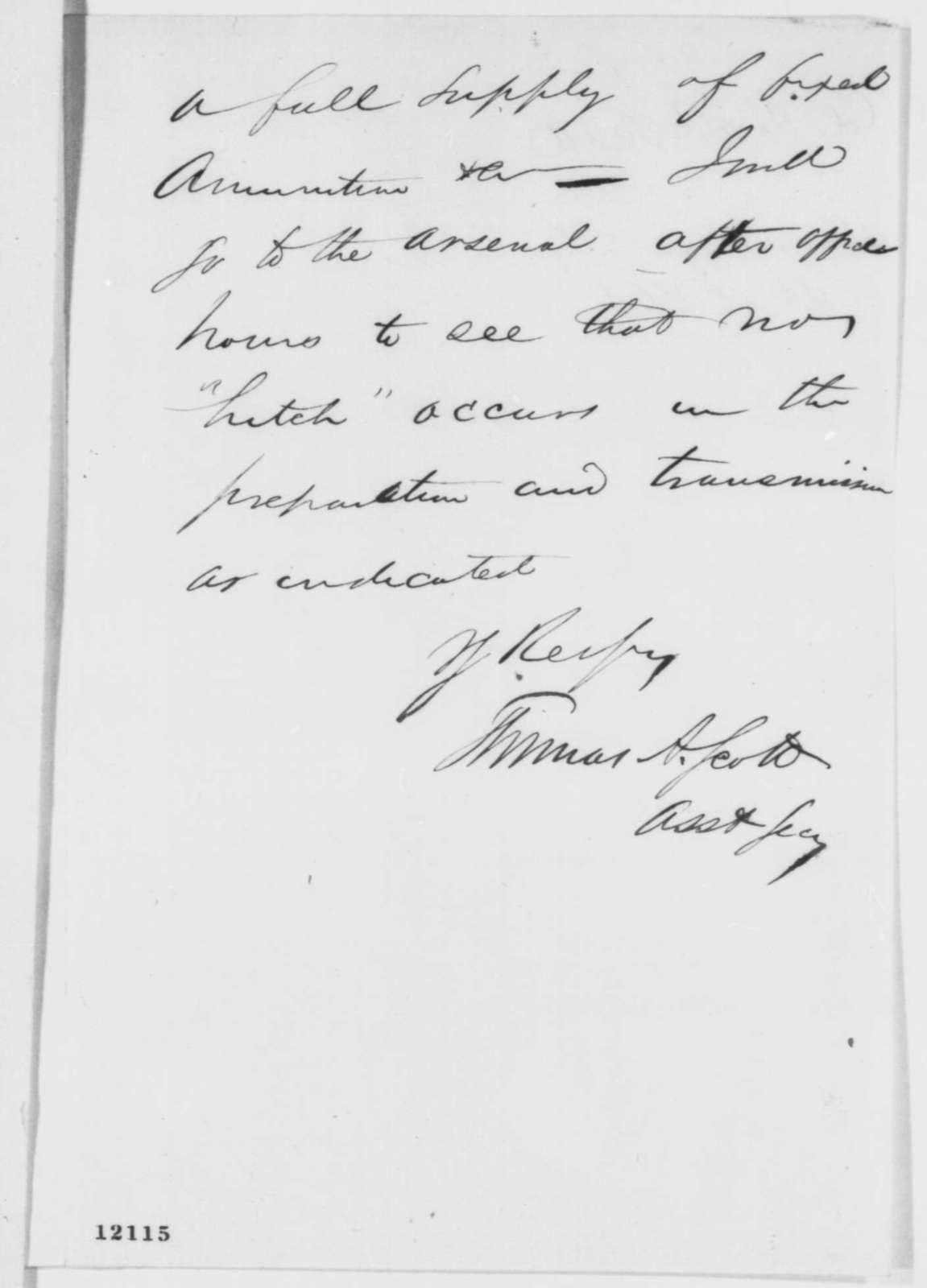 Thomas A. Scott to Abraham Lincoln, Saturday, September 28, 1861  (Artillery sent to Kentucky)