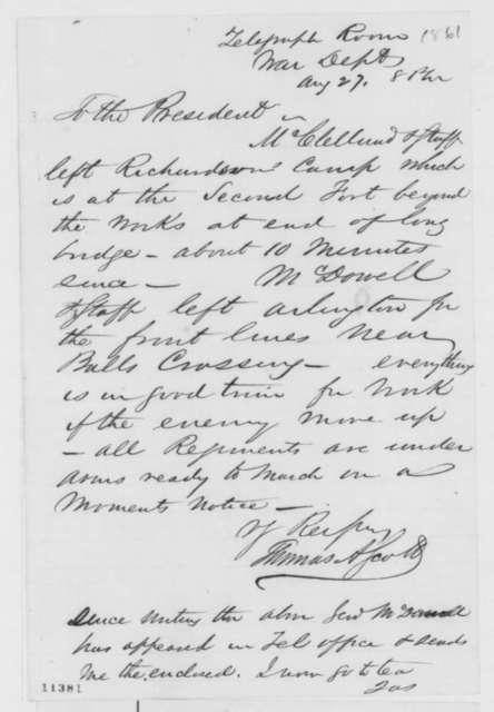 Thomas A. Scott to Abraham Lincoln, Tuesday, August 27, 1861  (Military affairs)