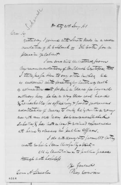 Thomas Corwin to Abraham Lincoln, Monday, January 21, 1861  (Recommends Robert Schenk for cabinet)