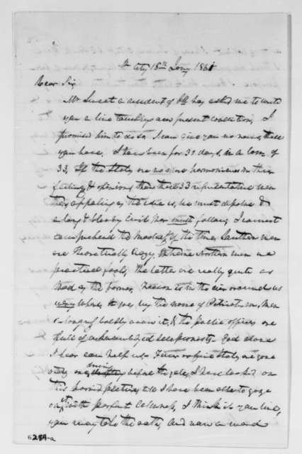 Thomas Corwin to Abraham Lincoln, Wednesday, January 16, 1861  (Report from Washington)
