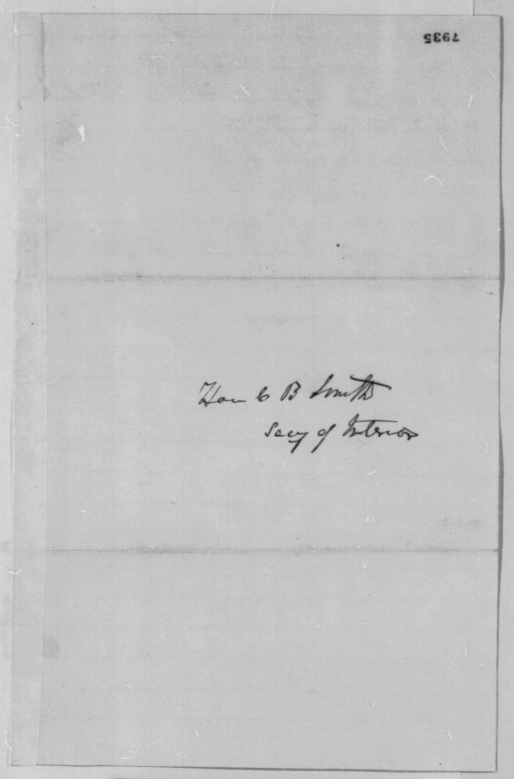 Thomas Corwin to Caleb B. Smith, Saturday, March 09, 1861  (Recommendation for John Defrees)