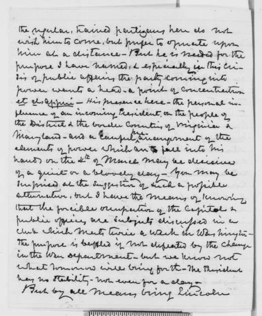 Thomas Ewing to Robert C. Schenck, Tuesday, January 01, 1861  (Lincoln should come to Washington immediately)