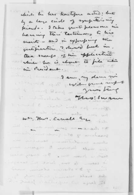 Thomas Swann to William T. Carroll, Wednesday, April 10, 1861  (Recommendation)