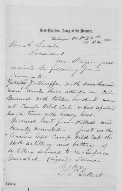 Thomas T. Eckert to Abraham Lincoln, Tuesday, October 22, 1861  (Military affairs)