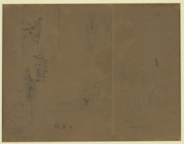 "[Three sketches including ""Arrival of Zouaves,"" city or town street, and a soldier]"