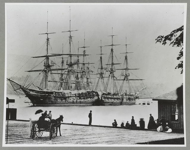 [Three U.S. Navy ships, from left, the Macedonian, the Dale, and the Savannah anchored at the south wharf of West Point, Hudson River, New York]