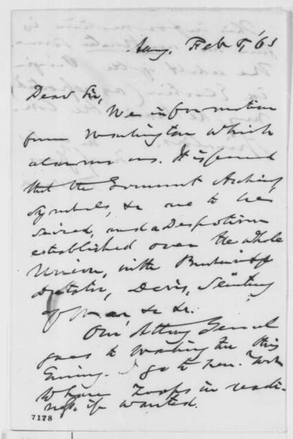Thurlow Weed to Abraham Lincoln, Tuesday, February 05, 1861  (Rumor of coup)