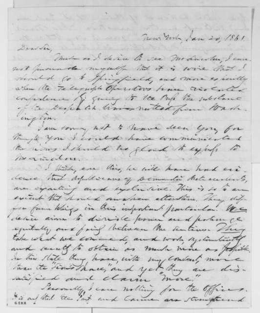 Thurlow Weed to Leonard Swett, Sunday, January 20, 1861  (Patronage)