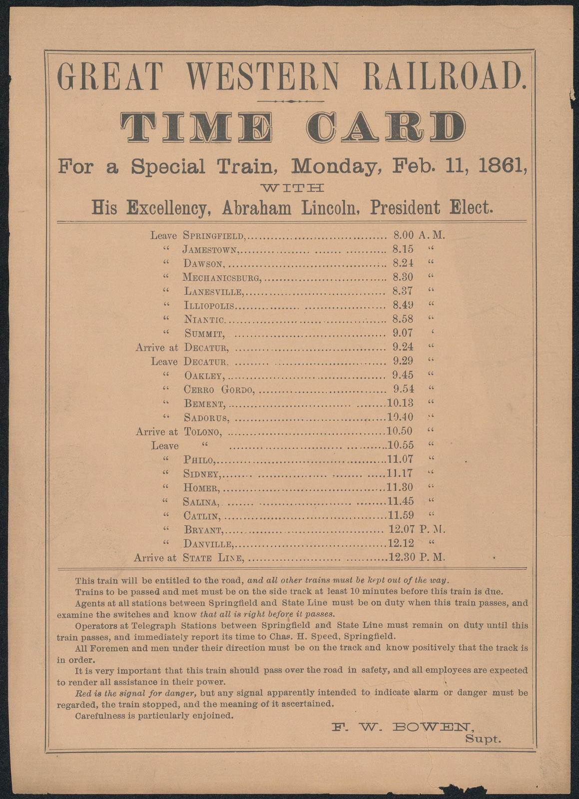 Time card for a special train, Monday February 11, 1861, His Excellency, Abraham Lincoln, President elect.