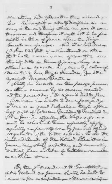 Titian J. Coffey, Friday, April 19, 1861  (Notes on martial law; with endorsement from Edward Bates, April 20, 1861)