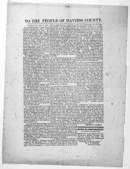 To the people of Davies County. Frankfort, Ky., Sept. 19, 1861. As your representative, I came to Frankfort with an earnest desire and an honest intention of preserving the peace ... George H. Yeaman.
