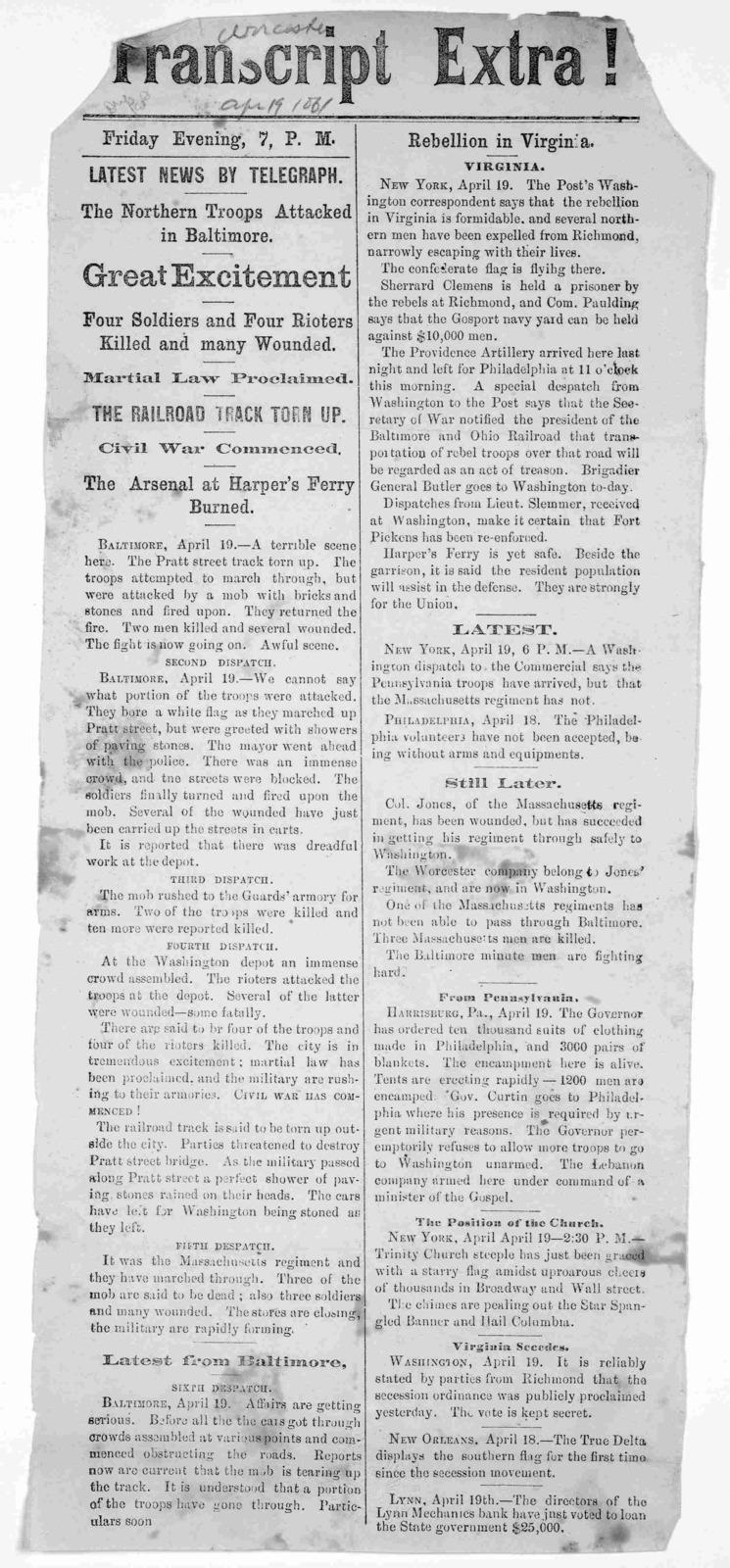 Transcript extra! [April 19, 1861] Friday evening 7 P. M.