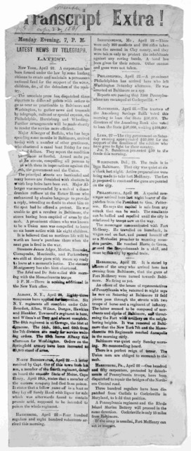 Transcript extra! [April 22, 1861] Monday evening 7 P. M.