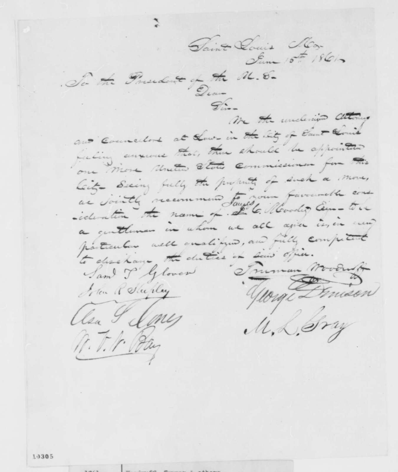 Truman Woodruff, et al. to Abraham Lincoln, Saturday, June 15, 1861  (Petition recommending U.S. Commissioner)