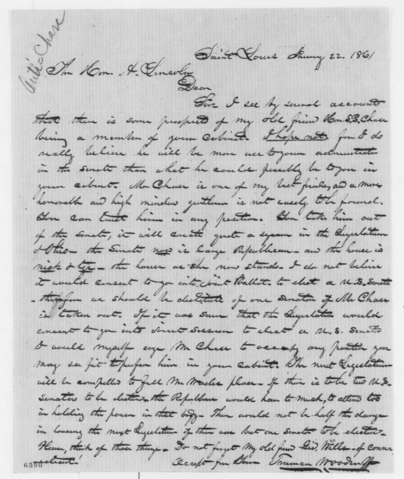 Truman Woodruff to Abraham Lincoln, Tuesday, January 22, 1861  (Chase more valuable in Senate than in cabinet)