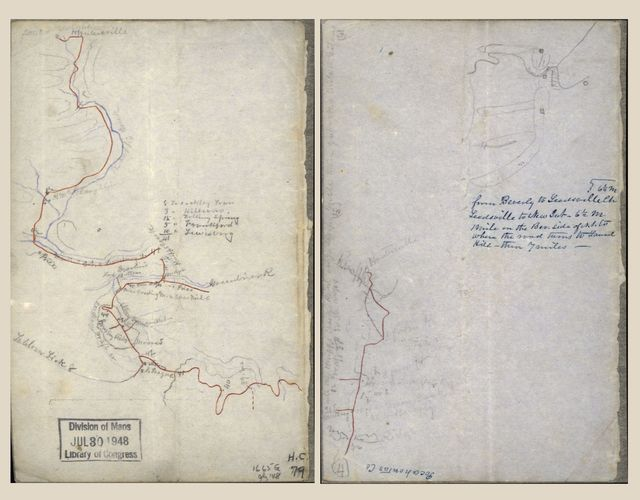 [Two sketches on one sheet of the road from Huntersville, W. Va. along Knap Creek to the Greenbrier River, and from the Greenbrier River across Brushy Ridge].