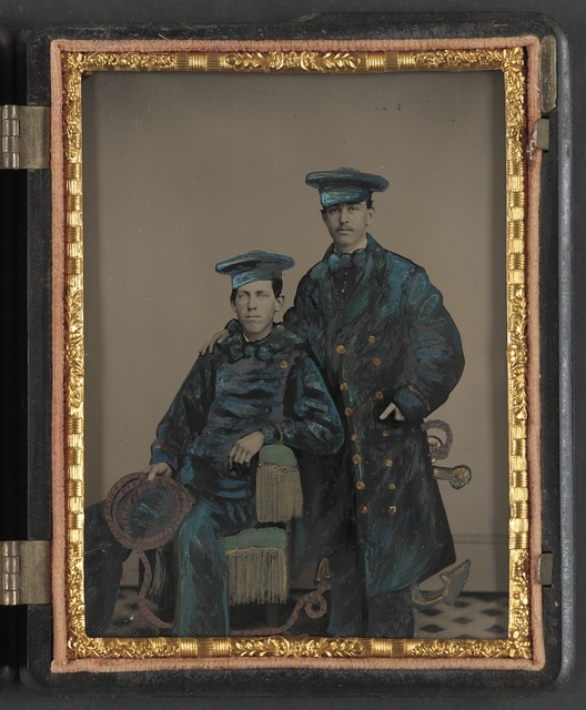 [Two unidentified sailors in Union uniforms with rope and anchor]