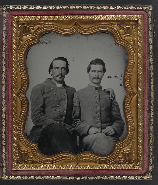[Two unidentified soldiers in Confederate uniforms]