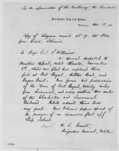 Ulysses S. Grant to Seth Williams, Monday, November 11, 1861  (Telegram regarding military affairs)
