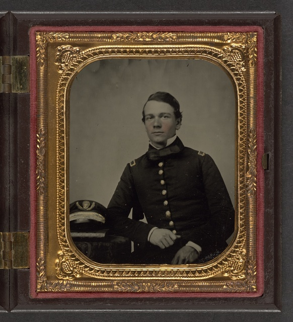 [Unidentified sailor in Union master's uniform with Navy officer's hat]