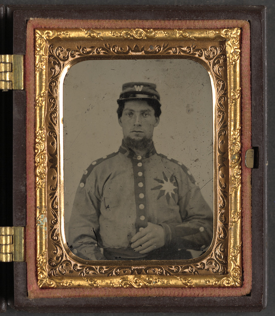 "[Unidentified soldier from Co. B (Sunflower Dispersers), 3rd Mississippi Infantry Regiment in uniform and kepi with letter ""W""]"